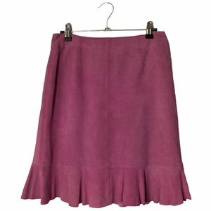 VTG Lilly Pulitzer Pink Suede Flounce Pencil Skirt